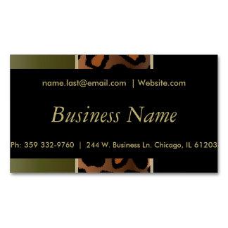 Elegant Black, Gold & Olive Green Leopard Stripes Magnetic Business Cards