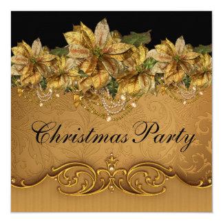 Elegant Black Gold Poinsettia Gold Christmas Party Card