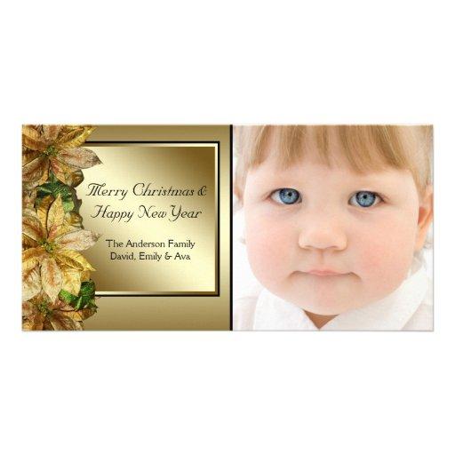 Elegant Black Gold Poinsettia Photo Christmas Card Photo Card