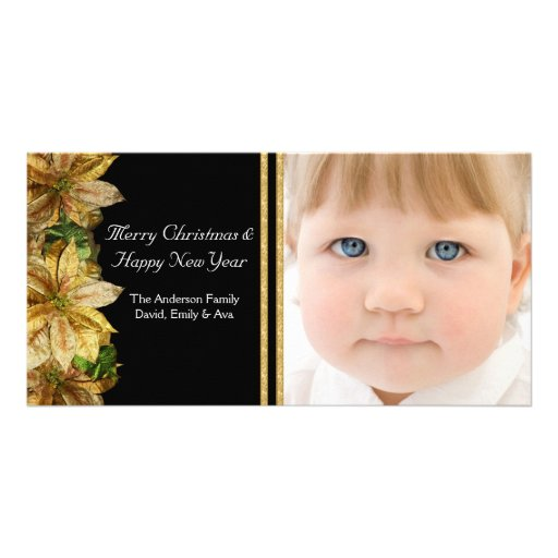 Elegant Black Gold Poinsettia Photo Christmas Card Photo Cards