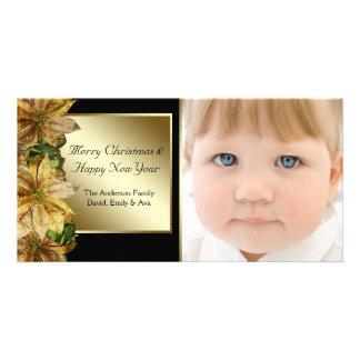 Elegant Black Gold Poinsettia Photo Christmas Card Customized Photo Card