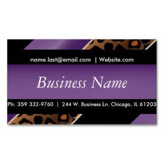 Elegant Black, Gold & Purple Leopard Stripes Magnetic Business Cards