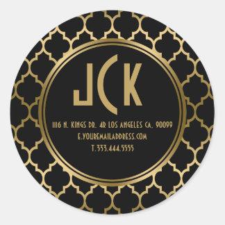 Elegant Black & Gold Quatrefoil Geometric Pattern Classic Round Sticker