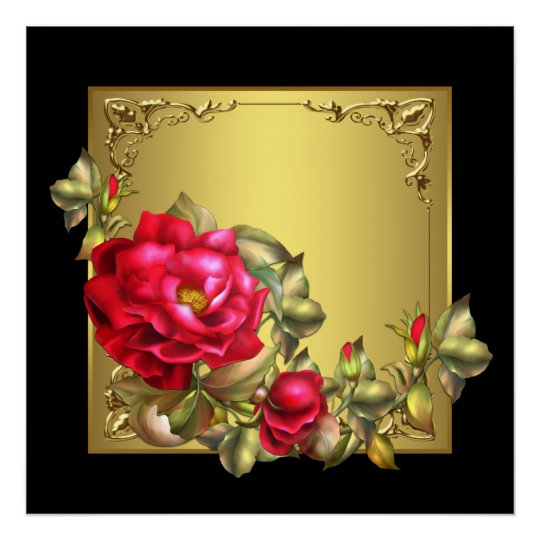 Elegant Black Gold Red Rose Art Print