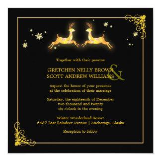 Elegant Black Gold Reindeer Winter Wedding Card