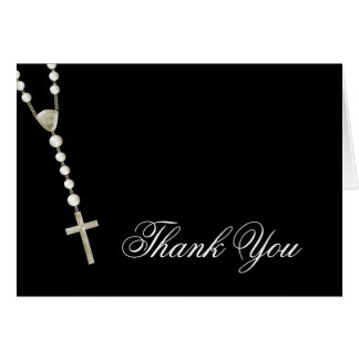 Elegant Black Gold Rosary Thank You Cards