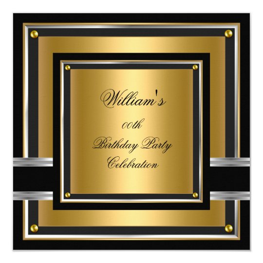 Elegant Black Gold Silver Birthday Party Mens boys