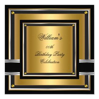 Elegant Black Gold Silver Birthday Party Mens Mans 13 Cm X 13 Cm Square Invitation Card