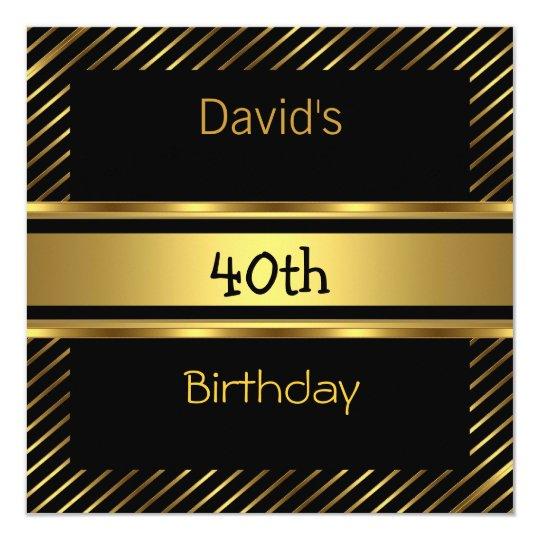 Elegant Black gold Stripe 40th Birthday Invitation