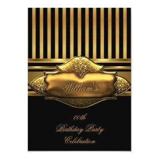 Elegant Black Gold Stripe Birthday Party Men's Custom Invite