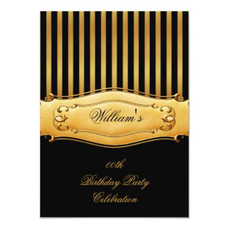 Elegant Black Gold Stripe Birthday Party Men's Man 4.5x6.25 Paper Invitation Card