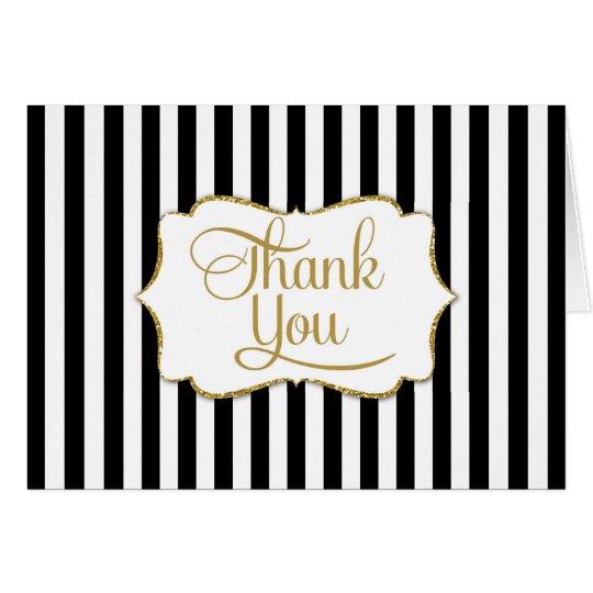 Elegant Black Gold Stripe Thank You Card