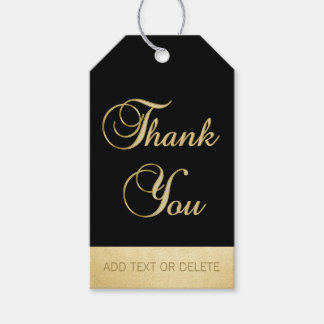 Elegant Black Gold THANK YOU gift favor Gift Tags