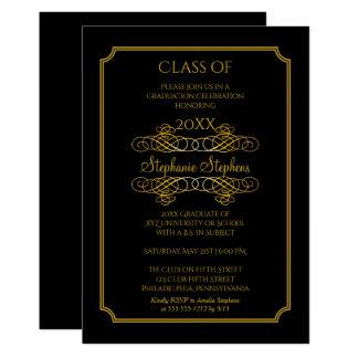Elegant Black | Gold University Graduation Party 13 Cm X 18 Cm Invitation Card