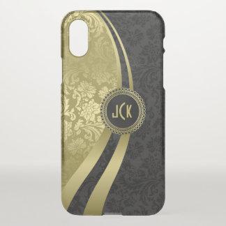 Elegant Black & Gold Vintage Floral Damasks 2 iPhone X Case