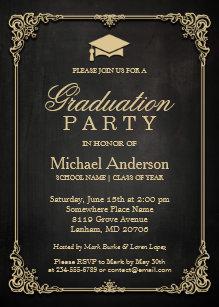 black gold graduation invitations zazzle co uk