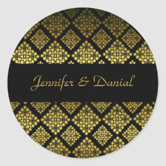 Elegant Black & Gold Wedding Envelope Seal Round Sticker