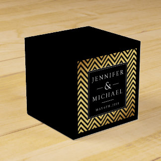 Elegant Black & Gold Wedding Favour Box