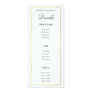 Elegant Black Gold Wedding Food and Drink Menu Card