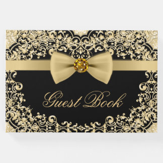 Elegant Black Gold Wedding Party Event Guest Book