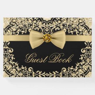 Elegant Black Gold Wedding Party Event Guest Book