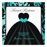 Elegant Black Gown Sweet Sixteen teal blue Invitations