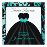 Elegant Black Gown Sweet Sixteen teal blue 13 Cm X 13 Cm Square Invitation Card