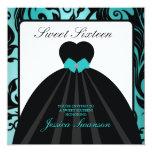 Elegant Black Gown Sweet Sixteen teal blue 13 Cm X 13 Cm Square Invitation Card