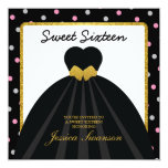 Elegant Black Gown Sweet Sixteen with polka dots Custom Invites