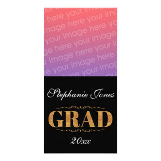 Elegant, black Grad Photo Greeting Card