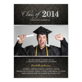 Elegant Black & Gray Damask 2013 Graduation 14 Cm X 19 Cm Invitation Card