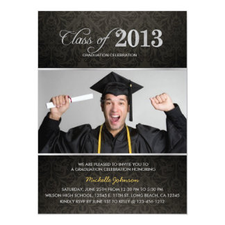 Elegant Black & Gray Damask with Silver Graduation Card