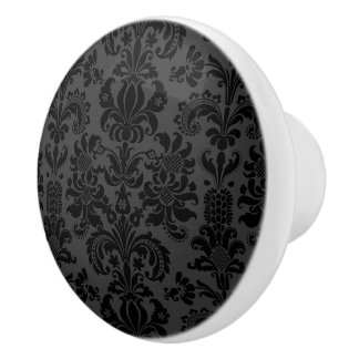 Elegant Black & Gray Damasks Ceramic Knob