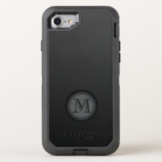Elegant Black Gray Monogram OtterBox Defender iPhone 8/7 Case