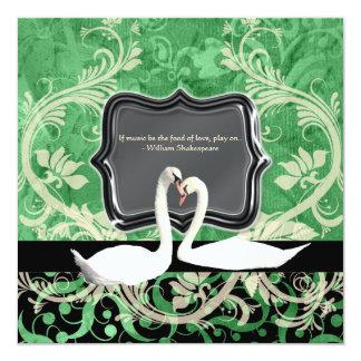 Elegant black green vintage engagement 13 cm x 13 cm square invitation card