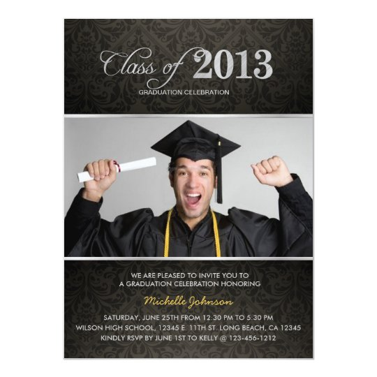 Elegant Black & Grey Damask with Silver Graduation Card
