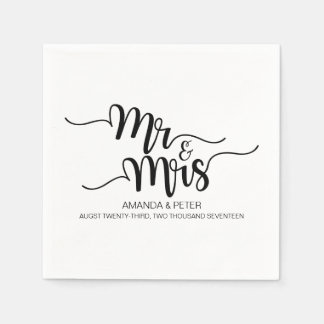 ELEGANT BLACK HANDWRITTEN LOVE WEDDING PAPER NAPKI DISPOSABLE SERVIETTE