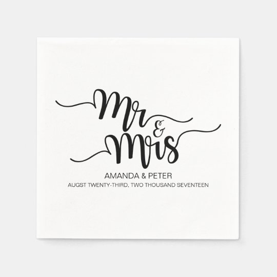ELEGANT BLACK HANDWRITTEN LOVE WEDDING PAPER NAPKI DISPOSABLE