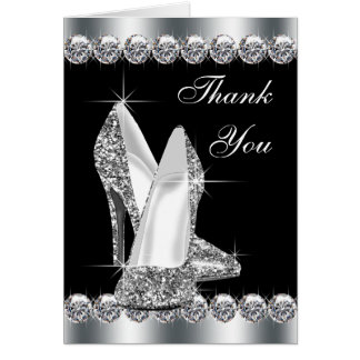 Elegant Black High Heel Shoe Thank You Cards