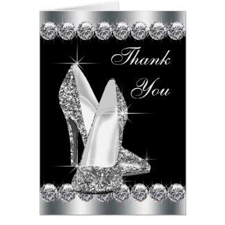 Elegant Black High Heel Shoe Thank You Cards