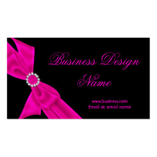 Elegant Black Hot Pink Diamond Bow Design Pack Of Standard Business Cards