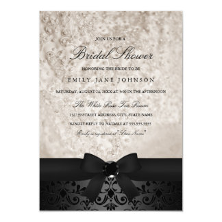 Elegant Black & Ivory Bow Bridal Shower Invite