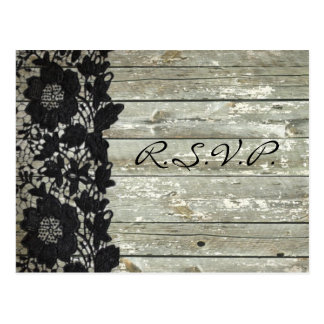 Elegant black lace barn wood country wedding rsvp postcard