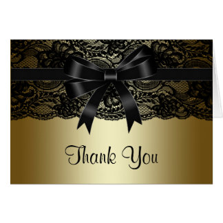 Elegant Black Lace Black and Gold Thank You Card
