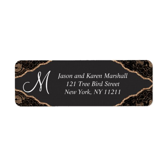 Elegant Black Lace on Burlap Jute Return Address