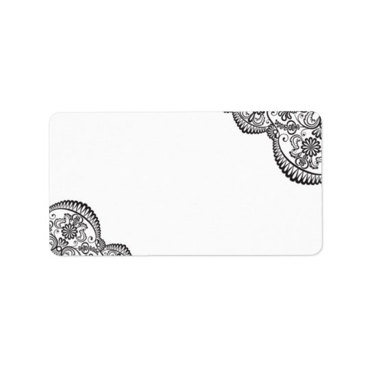 Elegant Black Lace Wedding Mailing Address Label