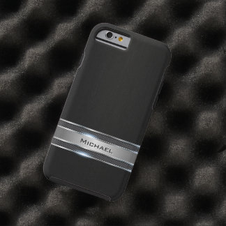 Elegant Black Leather and Silver Metal Label Look Tough iPhone 6 Case