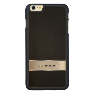 Elegant Black Leather Look with Silver Metal Label Carved Maple iPhone 6 Plus Case