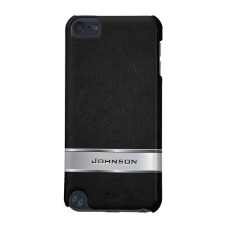 Elegant Black Leather Look with Silver Metal Label iPod Touch 5G Cover