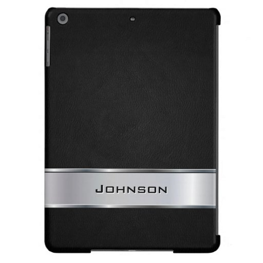 Elegant Black Leather Look with Silver Metal Label iPad Air Cover